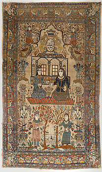 A Tabriz carpet, antique/semi-antique, dated 1914, 266 x 195 cm.