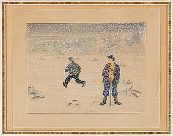 ELOV PERSSON, akvarell, signerad.