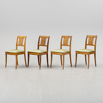 EMPIRE, Four Swedish 19th century Empire chairs.