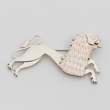 A silver brooch by wiwen nilsson, lund, 1960
