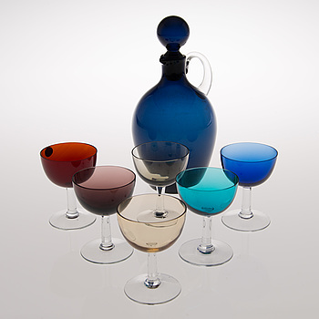 SAARA HOPEA, A carafe and six footed liqueur glasses from Nuutajärvi Finland. Design year 1959 and 1953.