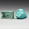 Two 'robins egg' glazed minitures, qing dynasty, 19th century.
