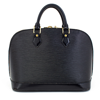 "A black epi ""Alma"" handbag and keyholder by Louis Vuitton."