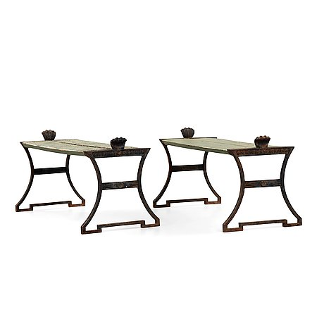 Folke bensow, two 'taburett no: 2' cast iron stools by näfveqvarns bruk, sweden post ca 1925.