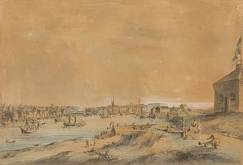 "JOHAN FREDRIK MARTIN, coloured etching, signed, ""Vue de Stockholm"", late 18th century."
