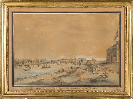 "Johan fredrik martin, kolorerad etsning, signerad,  ""vue de stockholm"", 1700 tal"