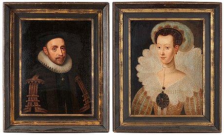 "Jacob hoefnagel attributed to, ""konung gustaf ii adolf"" och ""drottning maria eleonora"""