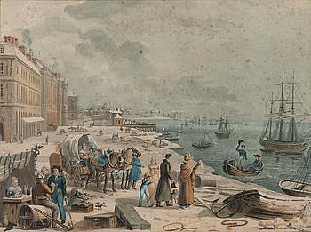 JEAN PIERRE MARIE JAZET, handkolorerad etsning, 1800-talets början.