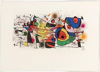 JOAN MIRÓ, färglitografi, signerad i trycket, 1974.