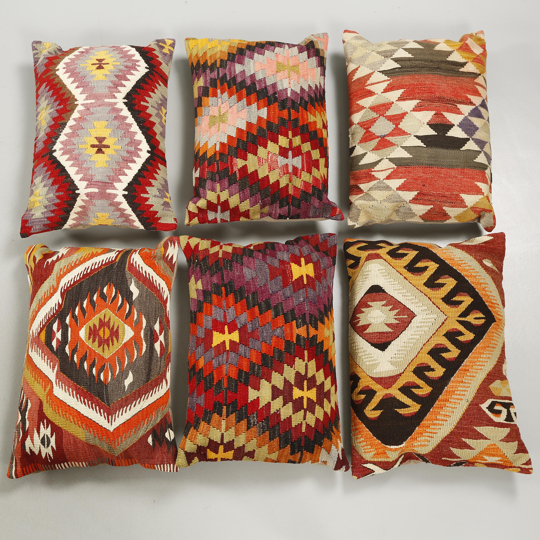 Six Anatolian Kelim Pillows Bukowskis