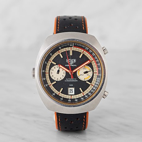 "Heuer, montreal, ""tachymetre, pulsations"", chronograph, wristwatch, 42 x 48 mm,"