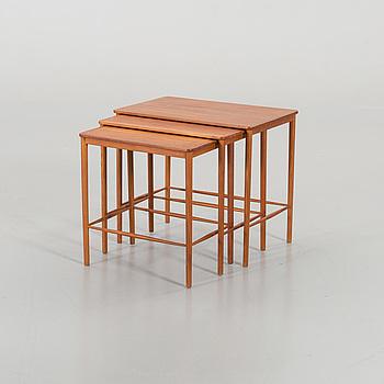 GRETE JALK, A SET OF THREE NESTING TABLES DESIGNED BY GRETE JALK FOR POUL  JEPPESEN