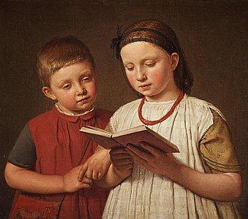 """310. Christen Købke, """"To læsende børn (Two reading children)""""."""