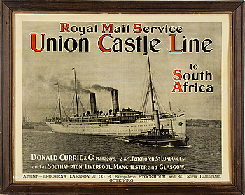 REKLAMAFFISCH, Royal Mail Service Union Castle Line to South Africa.