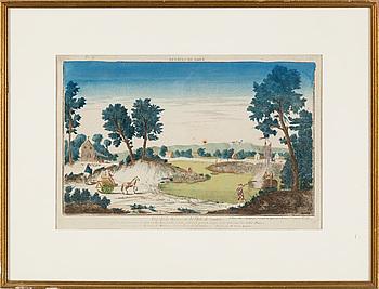 GRAVYR, handkolorerad, omkring år 1800.