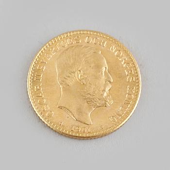 MYNT, guld, 10 kr, Oscar II, 1901, vikt ca 5 g.