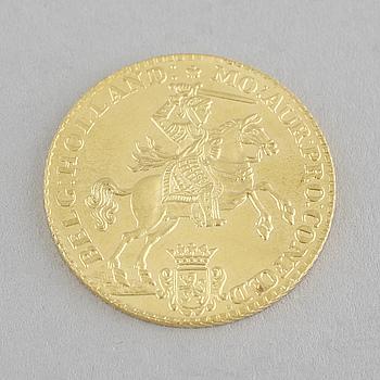 MYNT, guld, 7 gulden, Nederländerna, daterat 1750, senare prägling,  vikt ca 5 g.