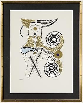 MAX WALTER SVANBERG, färglitografi med guldprägling, signerad maxwalters och numrerad 215/235.