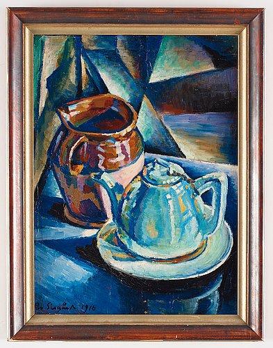 Pär siegård, still life with vase and a tea pot.