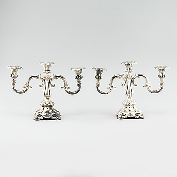 KANDELABRAR, ett par, silver, C G Hallberg, Stockholm, 1939.