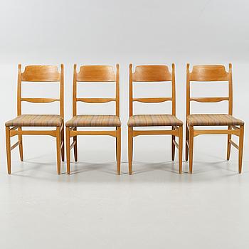 """CARL MALMSTEN, stolar, 4 st, """"Calmare nyckel"""", Åfors möbelfabrik, 1900-talets andra hälft."""