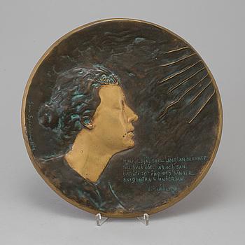 GERDA SPRINCHORN, plakett brons, signerad och daterad 1899.