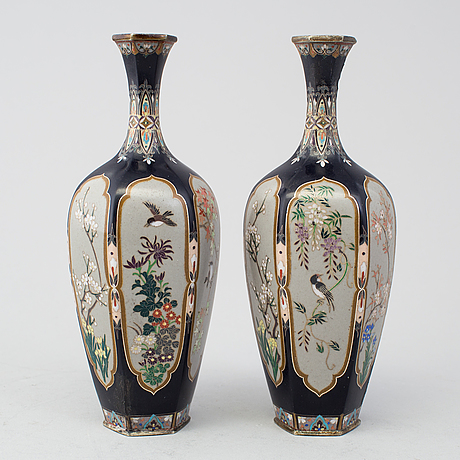 A Pair Of Japanese Cloisonne Vases Meiji Period 1868 1912