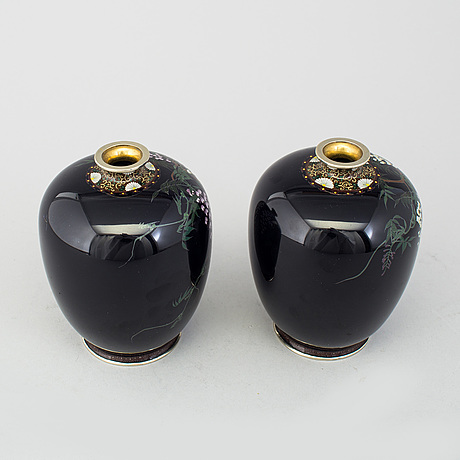 A Pair Of Japanese Cloisonn Vases Meiji Period 1868 1912