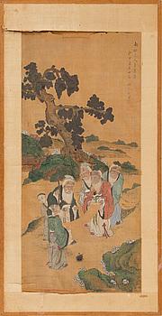 MÅLNING, i Gu Jianlongs (1606-efter 1687) efterföljd, sen Qing dynasti, circa 1900.