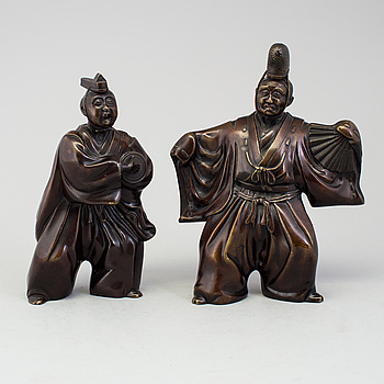 Two Japanese bronze sculptures of dancers, Meiji period (1868-1912). Signed to base.