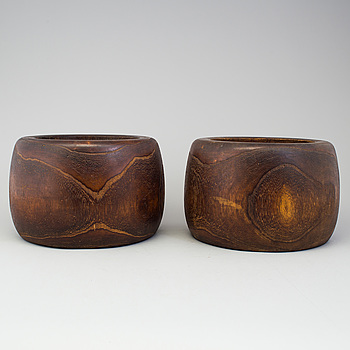 A pair of Japanese wooden flower pots, early 20th Century.