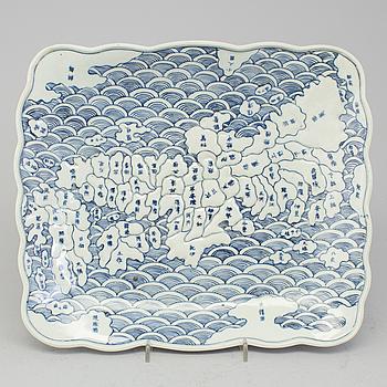 A japanese rectangular plate with a map of Japan and neighbouring islands. Arita ware. Edo period, Tenpo era (1830-43).