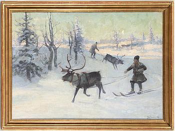 JOHAN TIRÉN, olja på uppfodrad duk, signerad Joh. Tirén och daterad 1892.