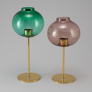 HANS AGNE JAKOBSSON, ljuslyktor, 2 st, mässing och glas, Markaryd, 1960-tal.