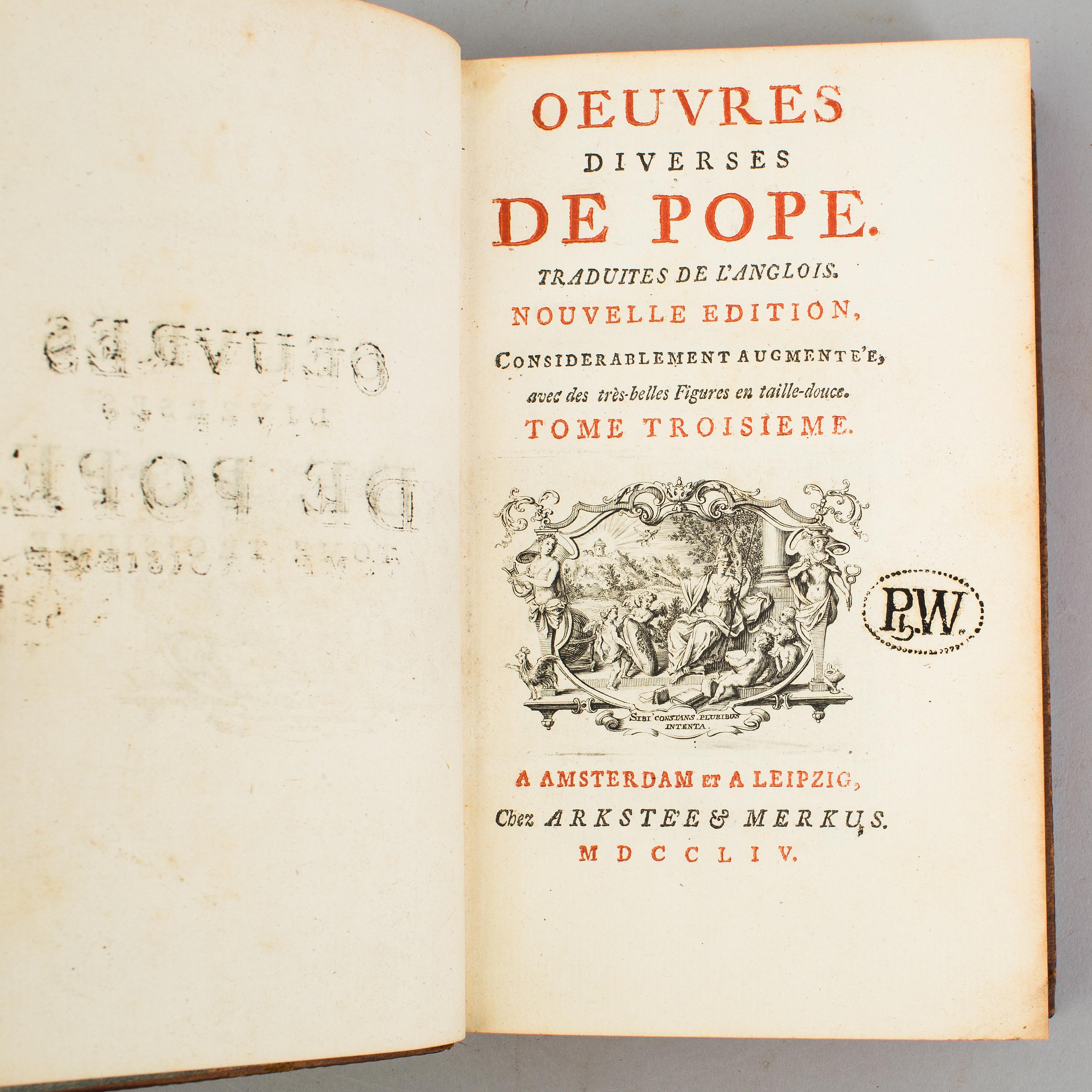 Anglois a book, alexander pope: oeuvres diverses. traduites de l