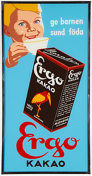 "Advertising sign, ""Ergo Cacao"", Marabou, first half of 20 th century."