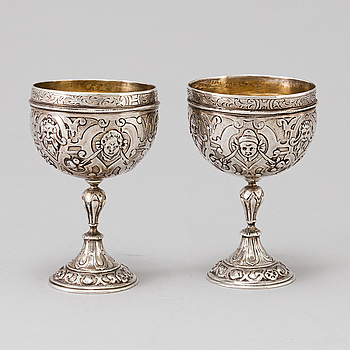 A pair of CUPS, 2, silver, Germany, 19th century.