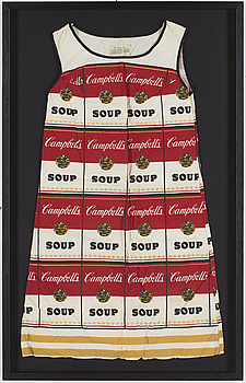 """The Souper Dress"", färgserigrafi på bomull/pappersklänning, ca 1965."