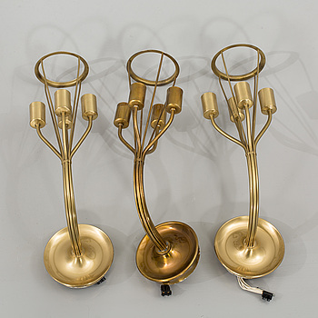 THREE BRASS WALL SCONCES, second half of the 20th century.