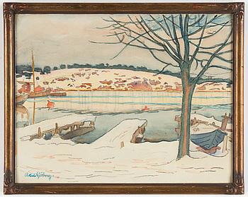 AXEL SJÖBERG, akvarell, signerad.