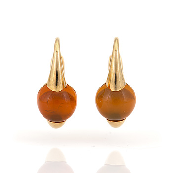 A pair of 'M'ama Non M'ama' earrings set with cabochon-cut hessonite garnets.