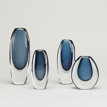 VICKE LINDSTRAND, VICKE LINDSTRAND, a set of four signed glass vases, second half of the 20th century.