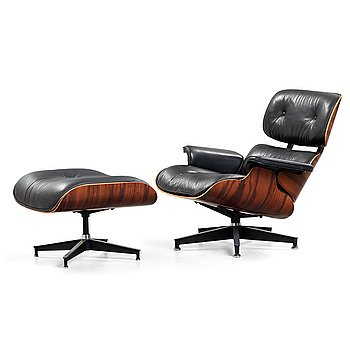 194. Charles & Ray Eames, A Charles & Ray Eames 'Lounge chair' with ottoman, Herman Miller, USA.