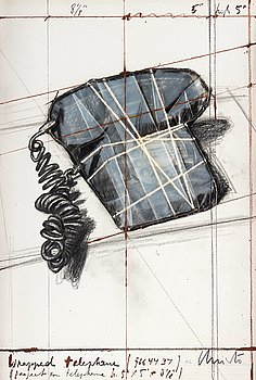 """183. Christo & Jeanne-Claude, """"Wrapped Telephone"""" ur """"12 years of Galeria Joan Prats, 1976-1988""""."""