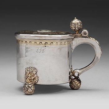 123. A Swedish 17th century parcel-gilt tankard, mark of Anders Andersson Amour, Stockholm (1684-1692) before 1689.