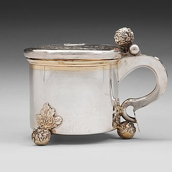 122. A Swedish 17th century parcel-gilt tankard, mark of Henrik Feiff, Stockholm (1666-1694(1709)) before 1689.