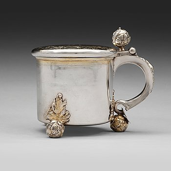 121. A Swedish 17th century parcel-gilt tankard, mark of Erik Månsson Schmidt, Stockholm 1675.
