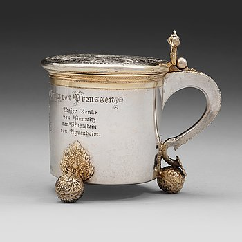124. A Swedish early 18th century parcel-gilt silver tankard, mark of Sven Wallman, Gothenburg 1704.