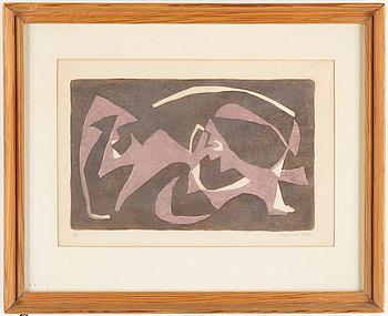 OLLE GILL, linoleumsnitt på smörpapper, signerad och numrerad 3/15. Daterad 1948.