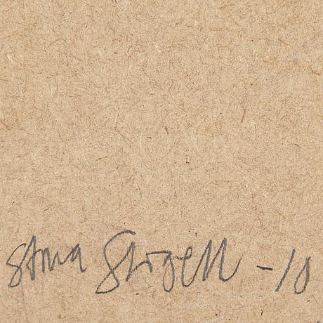 Stina stigell, trä, papper, färg, signerad och daterad  10